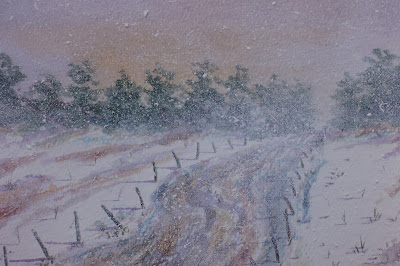 Winter storm in Keithock road, near Brechin, Angus, Scotland - watercolor by F. Lennox Campello, c.1990