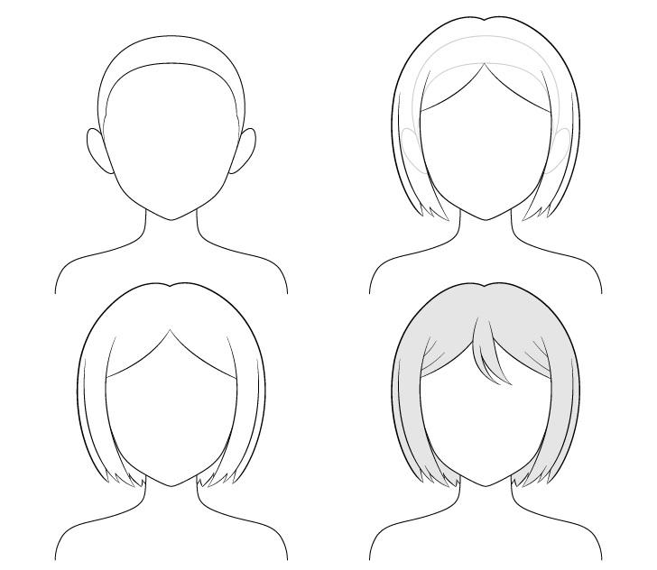 cara Menggambar Rambut Anime Combed rapi