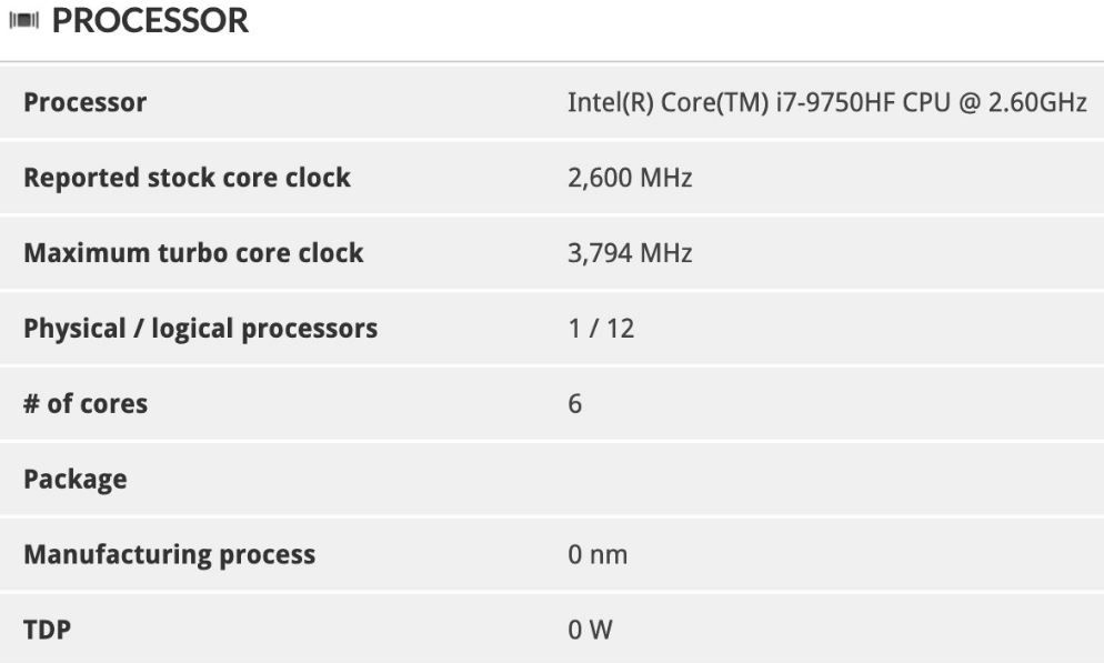 Intel 10th generation Core i5-10300H exposure: 100MHz speed increase again