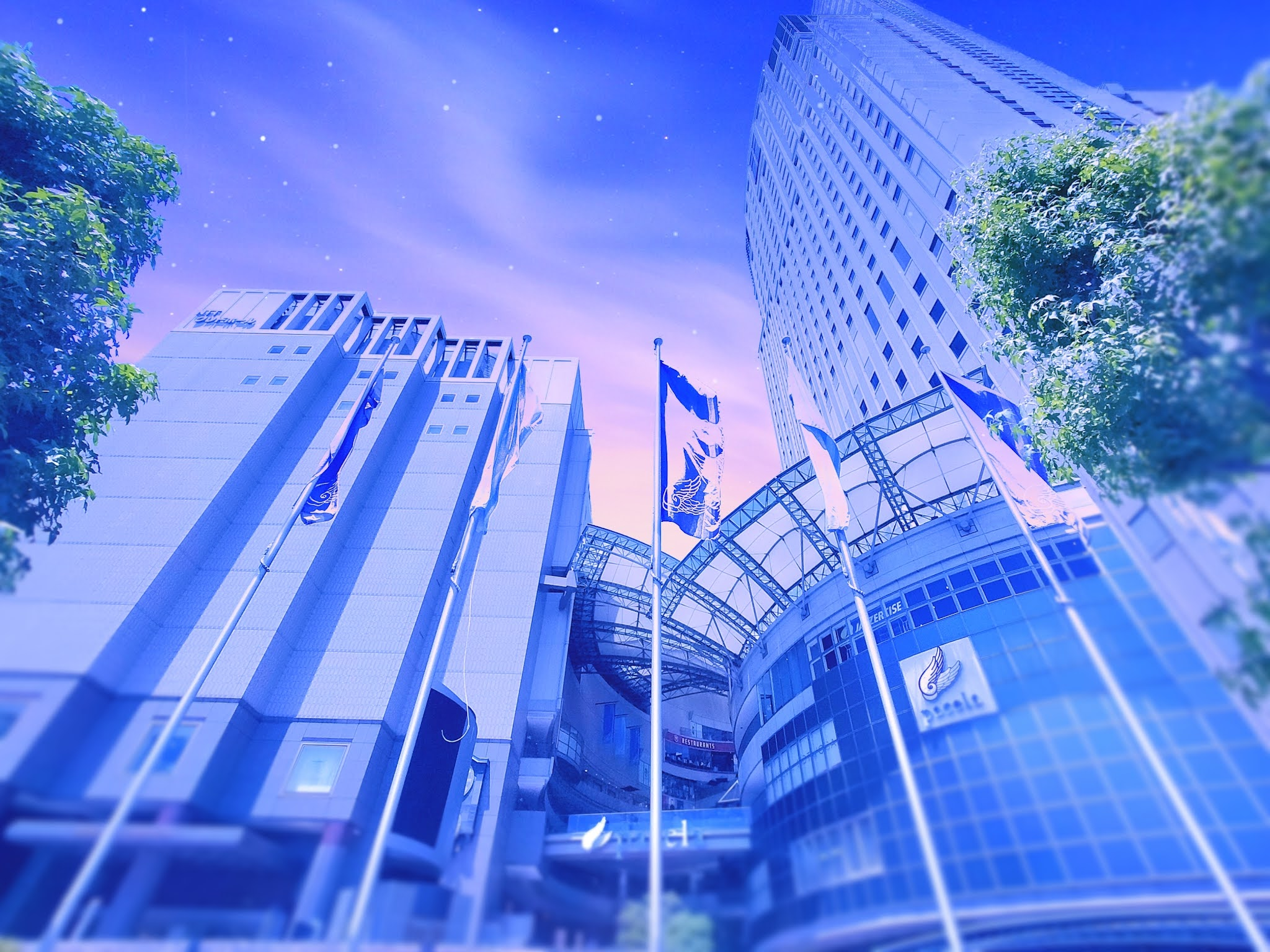 新海誠風夕暮れの風景に加工した風景写真。