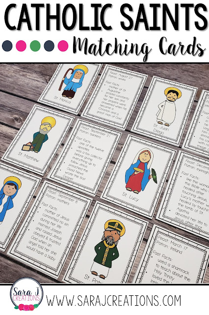 Catholic saint matching cards are the perfect way to learn basic facts about over 70 of our beloved Catholic saints. Turn the cards into a game and play memory or go fish with them.