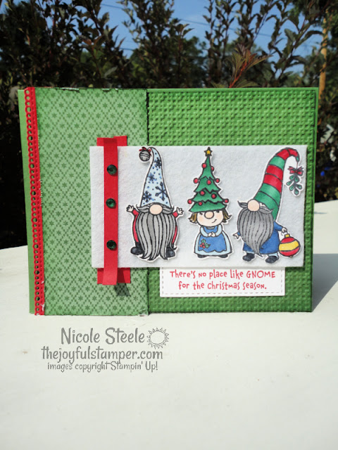 gnome for the holidays, christmas card, christmas, handmade card, handstamped cards, gnomes, stampin' up!, nicole steele, the joyful stamper, independent stampin' up! demonstrator, pittsburgh pa, learn to make cards, how to stamp, how to make cards