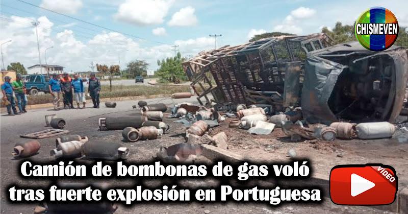 Camión de bombonas de gas voló tras fuerte explosión en Portuguesa