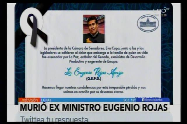 Muere por Covid-19 Eugenio Rojas, exministro de Evo y expresidente de los senadores