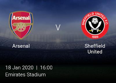 LIVE MATCH: Arsenal Vs Sheffield United Premier League 18/01/2020