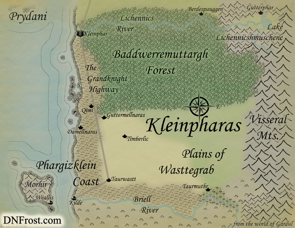 Kleinpharas of Gardul, a map commission by D.N.Frost for Jeffery W Ingram http://DNFrost.com/portfolio