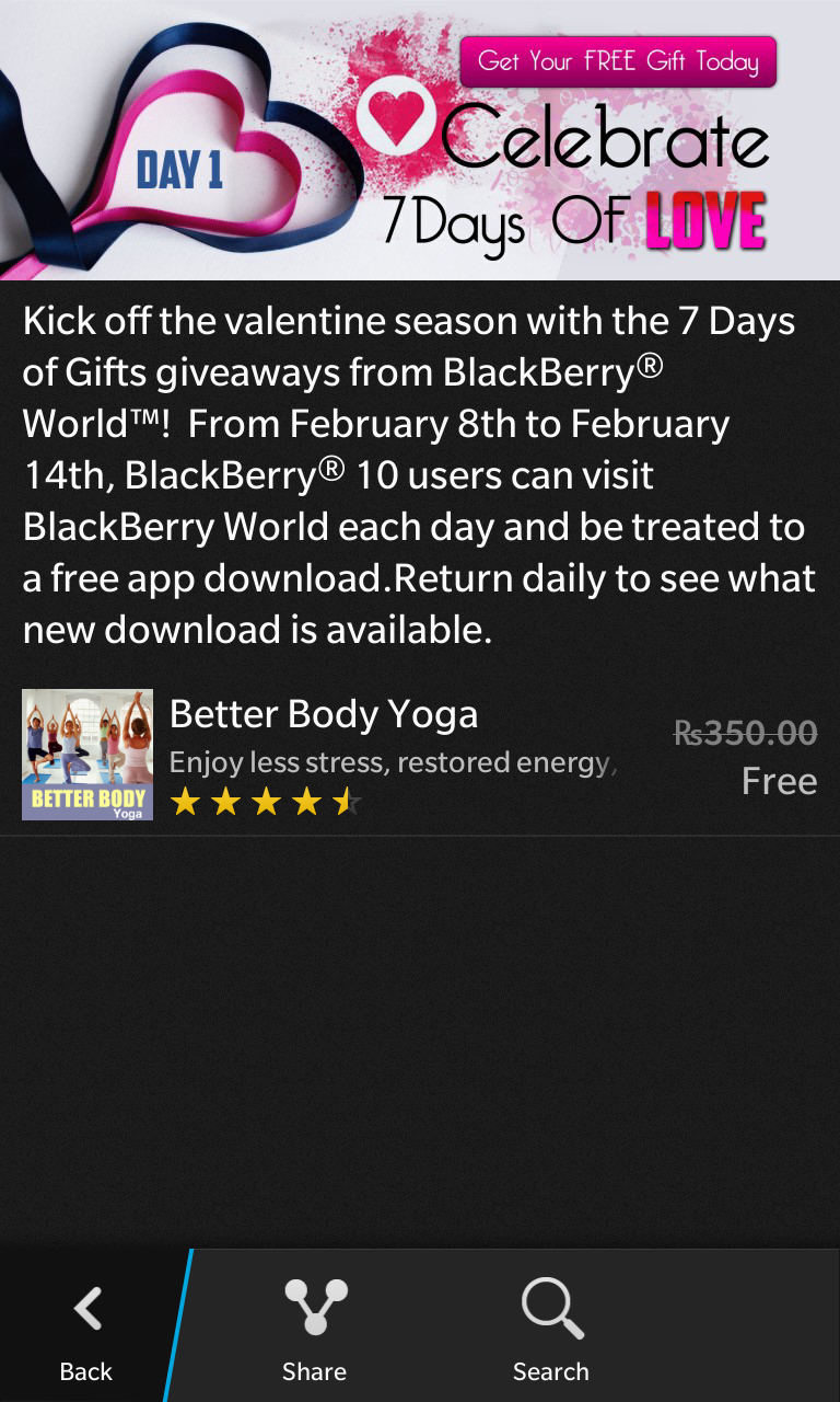 Premium Blackberry 10 Apps goes Free on Valentine Season