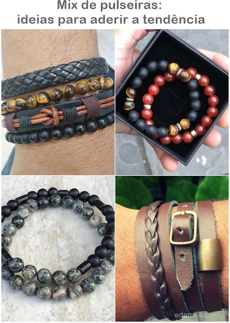 mix de pulseiras masculinas