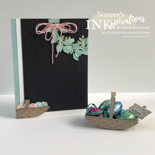 By Angie McKenzie for Stamping INKspirations Blog Hop; Click READ or VISIT to go to my blog for details! Featuring the Arrange a Wreath Bundle, Basket of Blooms Stamp Set, Springtime Joy Stamp Set, the Pinewood Planks 3D Embossing Folder and the Chick Dies by Stampin' Up!® to create a special Easter card with coordinating treat basket; #stampinup #cardtechniques #cardmaking #arrangeawreathbundle #springtimejoystampset #basketofbloomsstampset #chickdies #pinewoodplanks3dembossingfolder #3dbaskettreatholder #naturesinkspirations #stampinupcolorcoordination #stampingtechniques #stampinginkspirationsbloghop