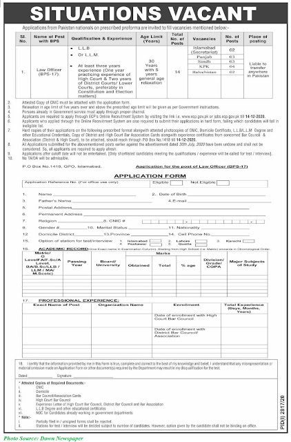 ECP Jobs 2020 - Latest Jobs in Election Commission of Pakistan December 2020 Download Application forms