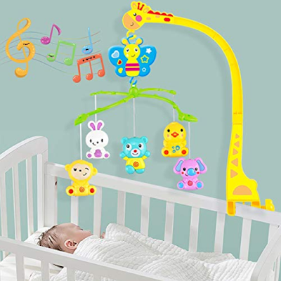 BabyGo Rotating Giraffe Musical Rattle Cot Mobile for Cradle and Bed Jhoomer to Keep Your Baby Joyful