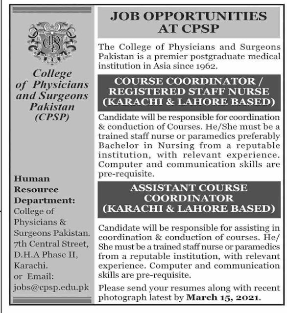 College of Physician & Surgeons Pakistan CPSP Jobs 2021