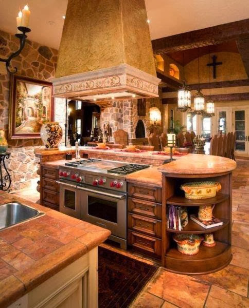 Mediterranean Style Kitchens: KITCHEN AND BATHROOM DESIGNS: Countertops Backsplash