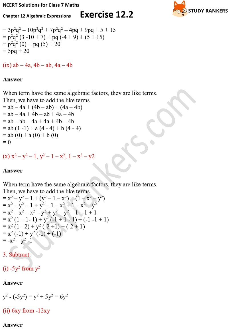 NCERT Solutions for Class 7 Maths Ch 12 Algebraic Expressions Exercise 12.2 5