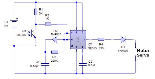 Implementasi Sensor Phototransistor dengan Motor Servo