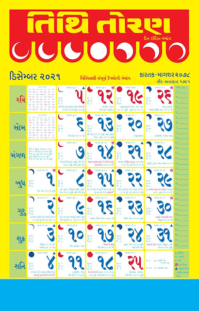 Tithi Toran Gujarati Calendar December 2021