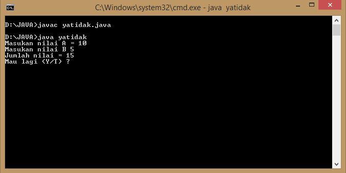 Membuat Pertanyaan Dan Perintah Y(ya) / T(tidak) Pada Program Java