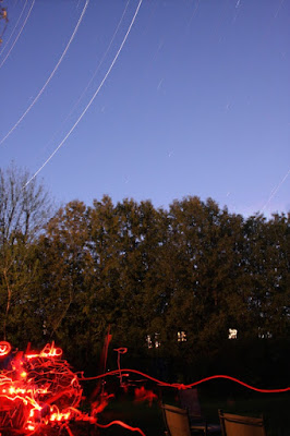 star trails and deep red flashlight bounces