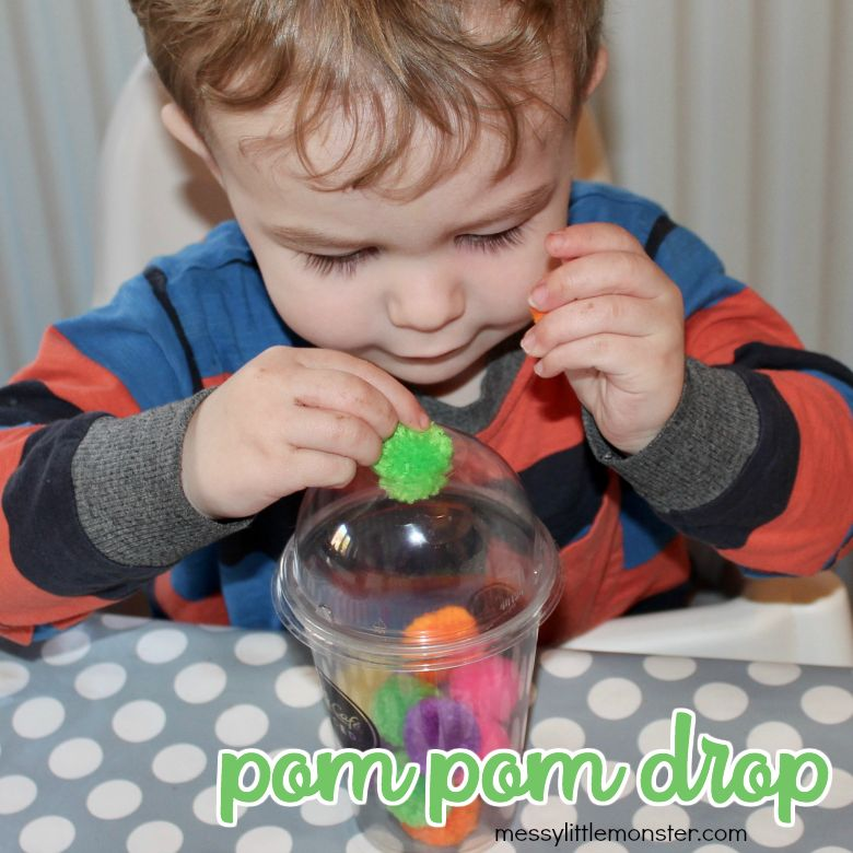 Activities for toddlers - pom pom drop