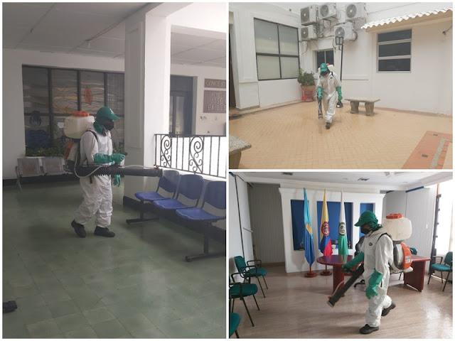 Desinfectan alcaldía de Riohacha, para reactivar gradualmente actividades