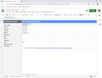 Report configuration sheet