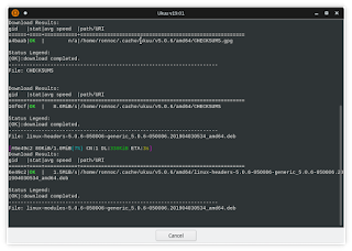 Installing a kernel with Ukuu opens an informative terminal session showing what's all happening in detail