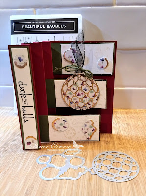 Beautiful Bauble, Frosted Floral, Christmas Card, Fancy fold