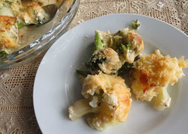 Broccoli and Cauliflower Casserole for two