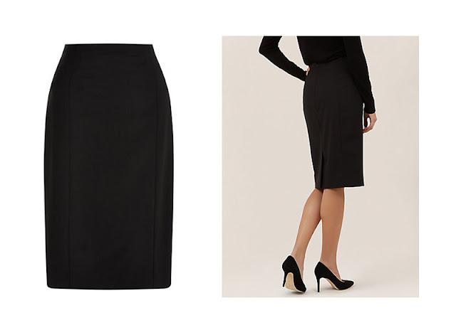 Прямая черная юбка ниже колена