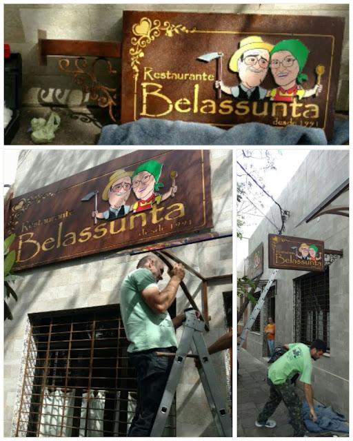 Fachada do Restaurante Belassunta com a arte M2LOPES