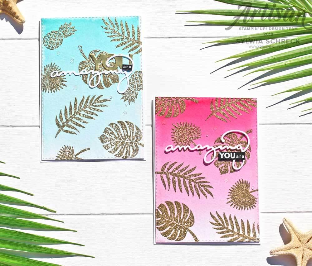 Aquarellkarten mit Tropenflair