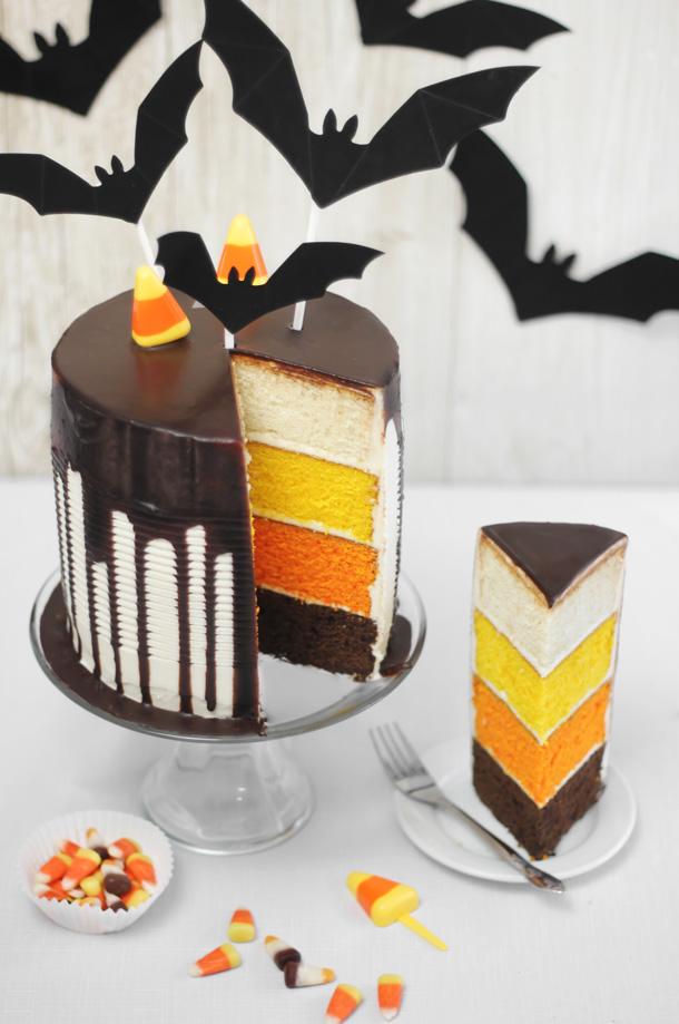Candy Corn Tuxedo Cake Sprinkle Bakes
