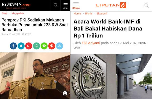 Buka Puasa Untuk Warga Miskin Dipermasalahkan, APBN 1 Triliun Untuk Acara IMF Didiamkan