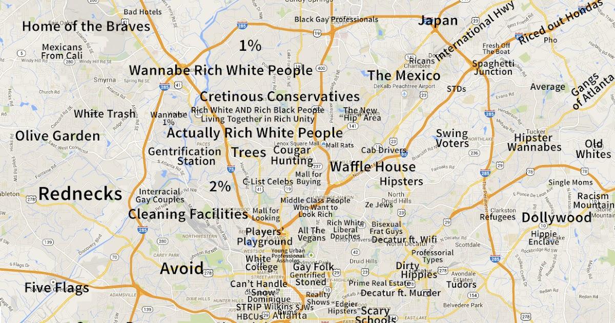 Grim39s Hall Judgmental Map Of Atlanta