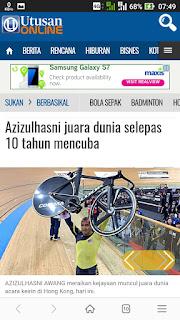 AZIZULHASNI AWANG meraikan kejayaannya memenangi acara keirin akhir dalam Kejohanan Dunia Trek UCI di Hong Kong semalam. – REUTERS