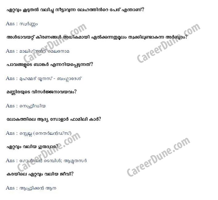 PSC Malayalam General Knowledge Question Bank | Careerdune