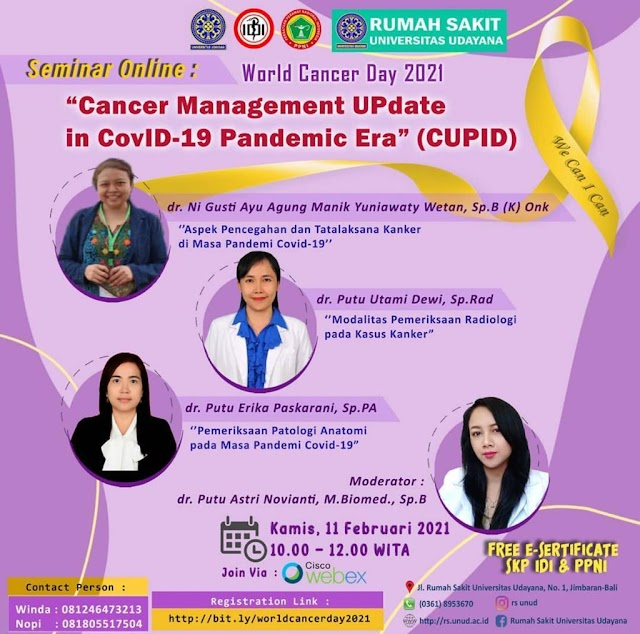 "Gratis 3 SKP IDI Seminar Online : *""Cancer Management UPdate in CovID-19 Pandemic Era (CUPID)""*"