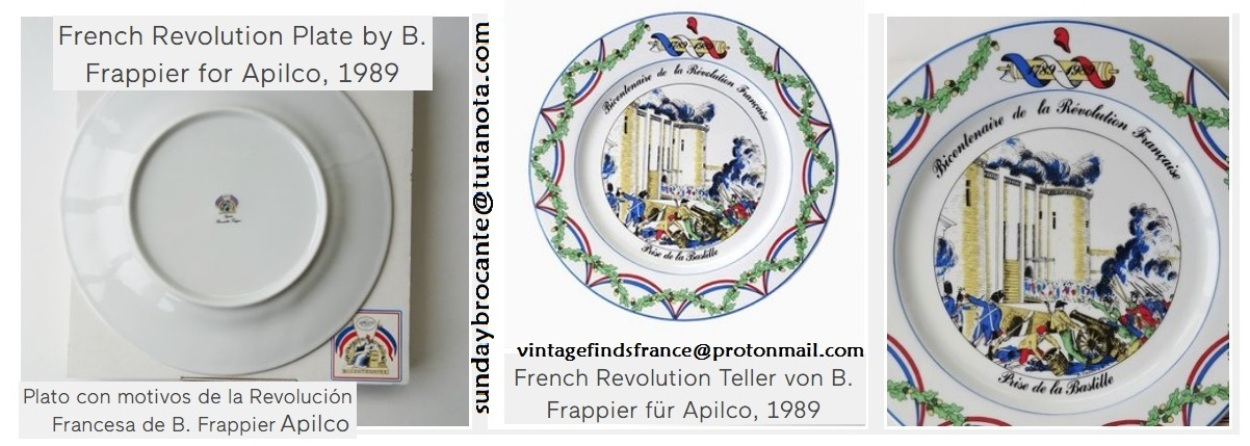 1989. Bicentenary of the French Revolution 'Storming of the Bastille' plate, for Apilco Porcelain.
