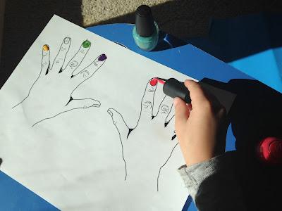 hands nail polish review game activity colorful nails preschool fun