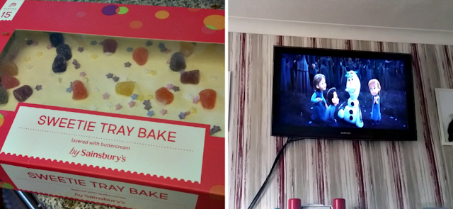 A sweetie traybake cake and Frozen 2 on the TV.