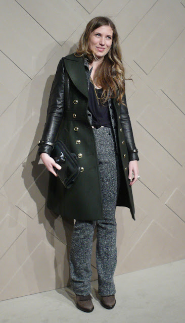 e30b6f55ec69 Designer Elise Bergman in a Burberry Brit leather sleeve double breasted  coat