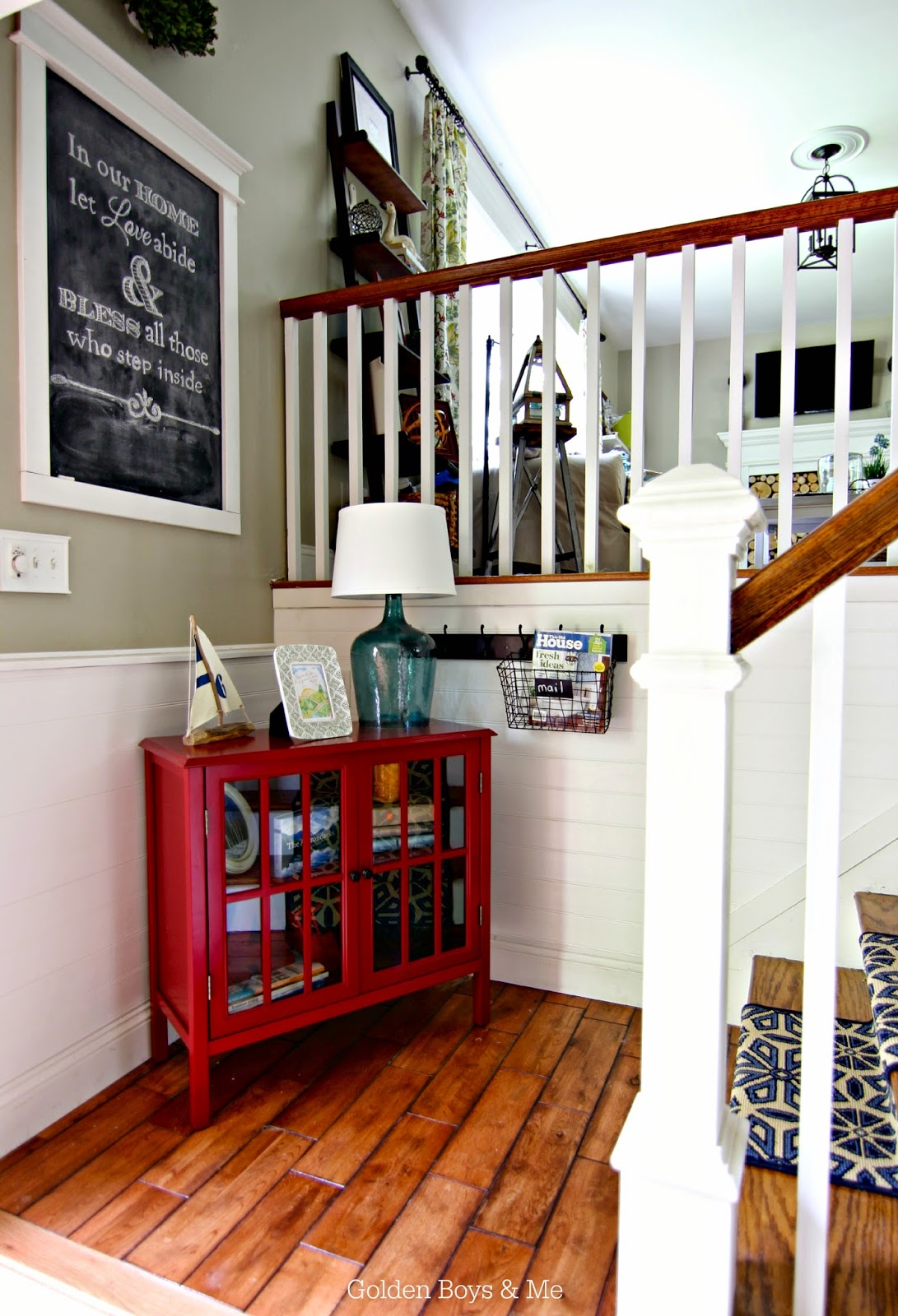 A Split Level Gets A Praire Style Facelift In Mclean Va: Golden Boys And Me: DIY Stair Runner