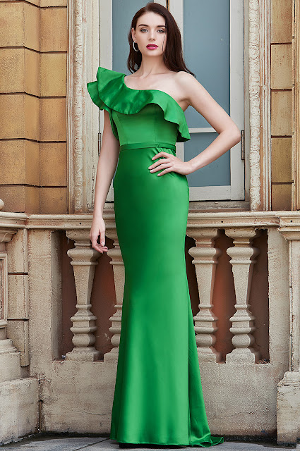 new green prom dress with one shoulder design