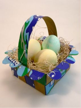 Easter basket made from woven food boxes