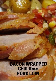 Bacon-wrapped pork loin for dinner.