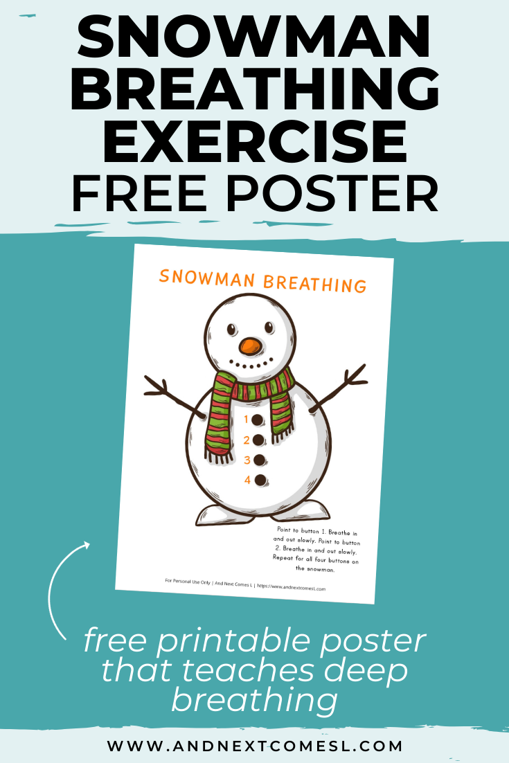 Free deep breathing printable for kids that's perfect for winter