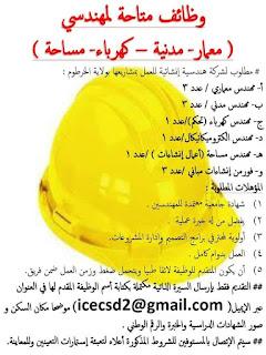 وظائف متاحة لمهندسي ( معار- مدنية - كهرباء- مساحة )