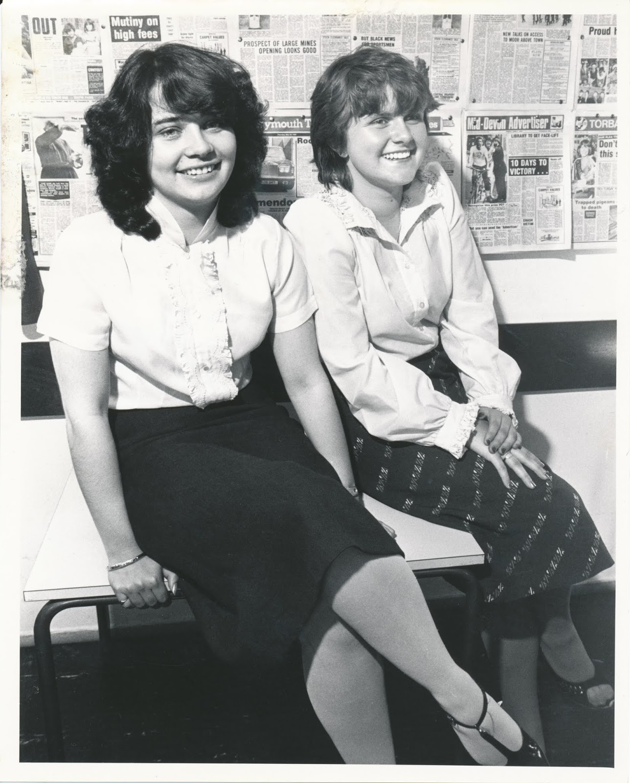 Gail Hanlon (then Tyler) and Julie Skentelbery (then Stanton) as MGN Bubbly Birds in the Mirror Group Newspapers house magazine, early 1980s