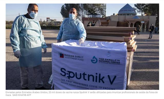 Emirados Árabes Unidos enviam a Gaza 20 mil doses da vacina russa Sputnik V