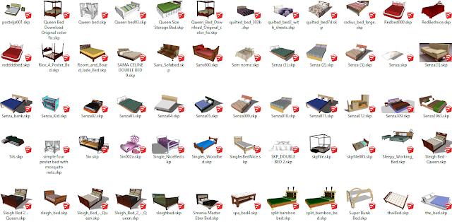 Bed Collection Free Sketchup Model , sketchup models , 3d model sketchup , free sketchup models , 3d rendering , 3d modelling , sketchup vray render